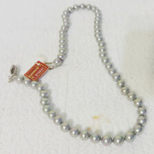"New Majorica Gorgeous Gray Pearl 17.5"" Necklace Original Box Numbered Silver"