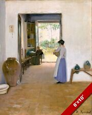 1800'S ERA WOMEN TALKING IN SPANISH HOME SPAIN PAINTING ART REAL CANVAS PRINT