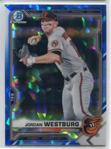 Jordan Westburg Bowman Chrome 2021 Sapphire Refractor Card Orioles BCP-98