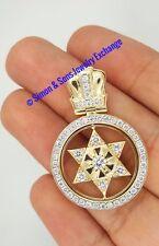14K YELLOW GOLD DIAMOND SPINNING 2 IN 1 STAR OF DAVID JEWISH TORAH PENDANT VS