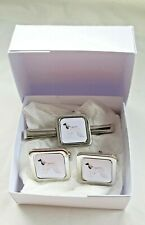 More details for afghan hound cuff links tie clip slide by curiosity crafts