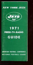 1971 NFL Football New York Jets Press Radio TV Media Guide EX+
