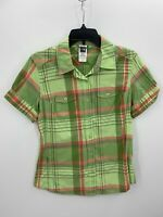 The North Face Womens Medium Green Plaid Short Sleeve Button Up Shirt