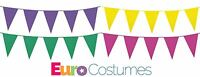 10m Giant Plastic Bunting Pennant Summer Garden Party Decoration 10 Colours