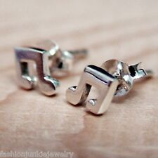 Tiny Music Note Earrings - 925 Sterling Silver - Notes Post Stud Jewelry NEW