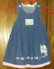 Girls Size 3T/3 Precious Moments Blue Jean Jumper/Dress with pink trim