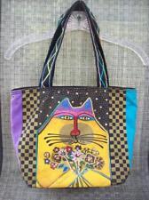 LAUREL BURCH Cat w/ Flower Bouquet Canvas Tote Bag