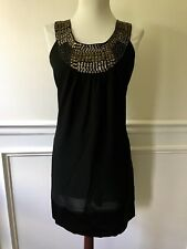 Vintage Fossil Black Trapeze Silky Statement Jewel Beaded Necklace Dress S