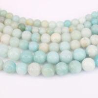 "15"" Natural Blue Amazonite Gemstone Loose Beads Jewelry Makings Craft 4/6/8/10mm"