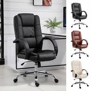 Back Office Chair Ergonomic Adjustable 360° Swivel PU Leather Executive High