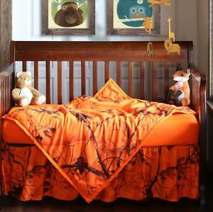 Realtree Blaze Orange Camo Baby Toddler Crib Set, Bedding Sheet Skirt Blanket