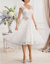 Stock New White/Ivory Lace Short Wedding Dress Bridal Gown Size 6 8 10 12 14 16+