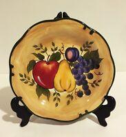 "Home Trends Granada Ceramic Fruit Dinner Plate Apple Pear Grapes Plum 11"""