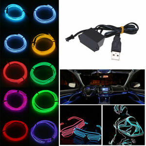 Neon LED Light Glow EL Wire String Strip Rope Tube Decor Party&USB Controller