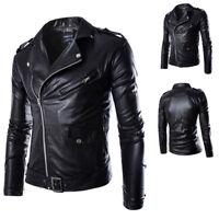 2018 Men Rock Jackets Motorbike Classic Slim PU Leather Biker Jacket Coat Black