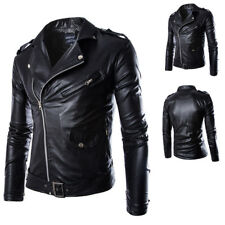 2018 Men Rock Jackets Motorbike Classic Slim PU Leather Biker Jacket Coat Black