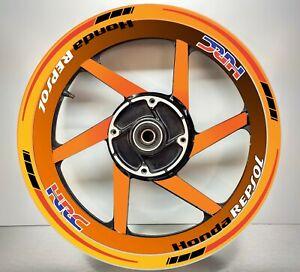 Honda Racing HRC Repsol REFLECTIVE RED & Black, Wheel Orange Rim Sticker
