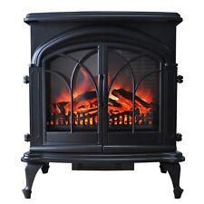 Black Freestanding Large Double Door Electric Stove Heater Log Burning Effect