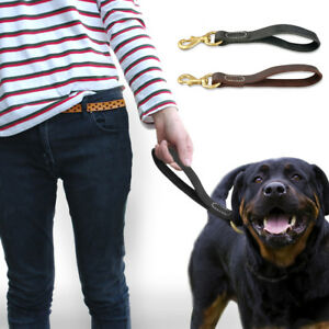 Genuine Leather Dog Short Leash Durable Walking Leads for Large Dogs Heavy Duty