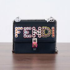 FENDI 2350$ Authentic New Kan I Mini Bag In Black Leather With Studded Logo