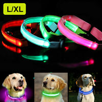 Dog Collar LED Light up Pet Night Safety Bright Flashing Adjustable Nylon Leash