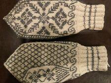 Vtg Norwegian Wool Mitten Point Gray Cream Selby Rose Snowflake Fair Isle Nordic