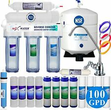 5 Stage Home Drinking Reverse Osmosis System With Total 15 RO Filter 100 GPD