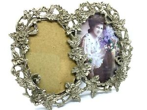 Lovely Small Vintage Floral Relief Design Double Oval Standing Picture Frame