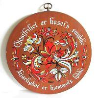 "1960s Scandinavian Wood Plaque Tray Berggren Trayner Rosemal 14.25"" FREE SH"