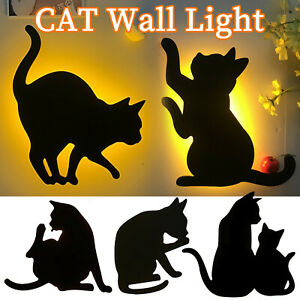 LED Night Light Sound Control Cat Pattern Shadow Lamp Projection Silhouette