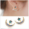 Womens 18k Yellow Gold Filled Moon Star Crystal Rhinestone Stud Earrings Jewelry