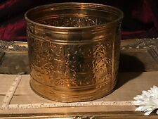 "Vintage Brass Embossed Floral Planter / Small Trash Can 7 3/4""x 6 1/8"""