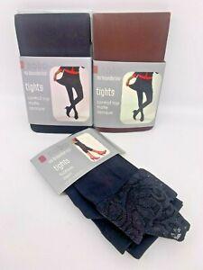 3 pr No Boundaries Fashion Tights-Size S/M- Brown + Black +  Black Lace Capri