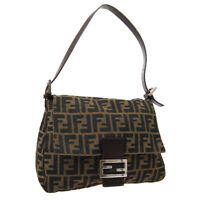 FENDI Zucca Pattern Mamma Baguette Shoulder Bag Brown Canvas Leather Auth 03571
