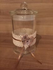 Vase mit Deckel, Geschenk, zum Befüllen, verziert, Herz, neu, Glas