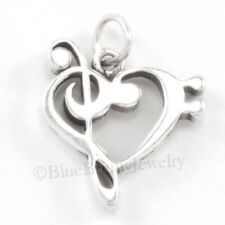MUSICAL NOTE charm Music Pendant 925 Sterling Silver Treble Clef Bass heart