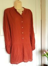 H&M Burnt Orange Oversize Loose Shirt Dress Blouse Size 12 Chiffon Work Casual