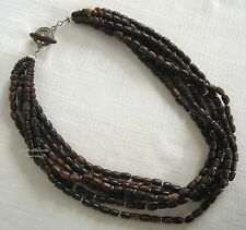 SILPADA 6-STRAND PALM WOOD BEAD & STERLING SILVER NECKLACE ~ N1349 ~ RETIRED