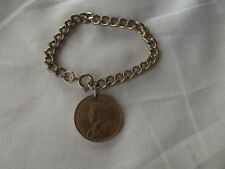vtg chain bracelet charm lucky wedding King George V Coin 1915 One Cent Canada