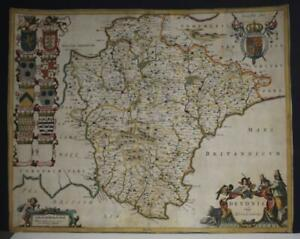 DEVONSHIRE ENGLAND 1660ca BLAEU UNUSUAL ANTIQUE MAP WITHOUT TEXT ON THE VERSO
