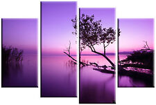 LARGE PURPLE TONE LAKE SPLIT CANVAS PICTURE WALL ART MULTI  4 PANEL 100 cm wide