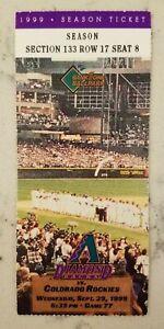 Arizona Colorado Rockies Baseball Ticket Stub 9/29 1999 Bichette HR 237 & 238