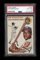 1954 Topps BB Card #165 Jim Pendleton Milwaukee Braves PSA VG-EX 4 !!!