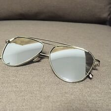 Silver Metal Frame Aviator Oversized Vintage Retro Geek Sunglasses 60s 80s