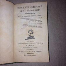 ESSAIS SUR L'HISTOIRE DE LA REVOLUTION française par des auteurs latins