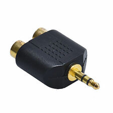 1x stereo mini 3.5mm to 2 RCA Female Adapter Audio Y Plug