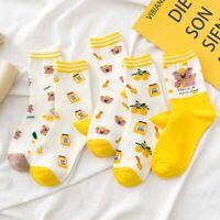 Autumn Winter Socks Cute Yellow Cartoon Bear Fruit Japanese Wild Cotton Socks-*