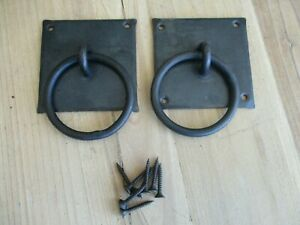 """2 Hand Forged Chest Handles Pulls Grasp Ring Handle Iron 3 1/8"""" Primitive Countr"""