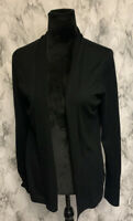 346 Brooks Brothers 100% Merino Wool Size L Black Open Cardigan Knit Sweater