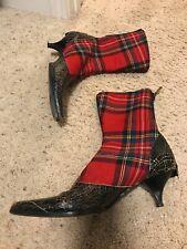 Miu Miu Vintage boots red plaid back zipper size 37 kitten heel point toe Wool